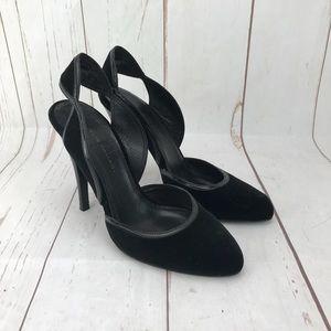 Elie Tahari Black Suede Sling Back Heels Size 36
